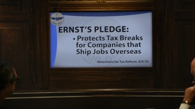 Climate group attacks Ernst on tax pledge, not climate