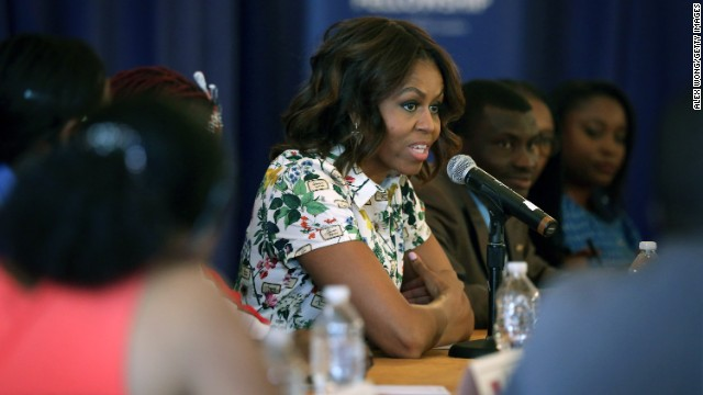 Michelle Obama evokes personal story to inspire young African leaders to pay it forward