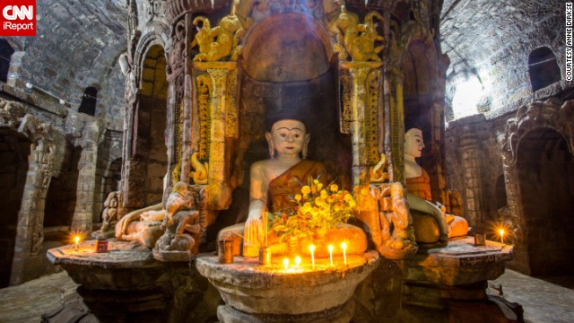 Mrauk U is a town in the Rakhine State of Myanmar, known for its collection of ancient Buddhist temples. <a href='http://ireport.cnn.com/docs/DOC-1111982'>Anne Dirkse</a> photographed the interior of one temple that houses more than 80,000 images of the Buddha.