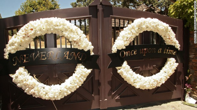 Wreaths hang on the gates of Michael Jackson's Neverland Ranch in Los Olivos, California, just after Jackson's death in 2009.