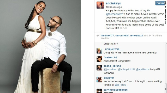 R&B star Alicia Keys and her husband, Swizz Beatz, will soon be singing more lullabies. The couple celebrated their fourth wedding anniversary on July 31 <a href='http://instagram.com/p/rGn3CmwFn3' target='_blank'>with the announcement that they're expecting their second child. </a>