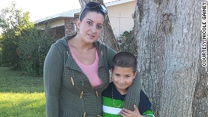 Nicole Gainey was arrested after sending her 7-year-old son, Dominic, to park alone.