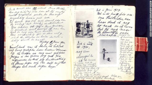 A handwritten page of Anne Frank's diary includes photos of herself on the beach during a holiday with her sister, Margot. The two sisters would live hidden in the annex with their mother, Edith; father, Otto; and another family.