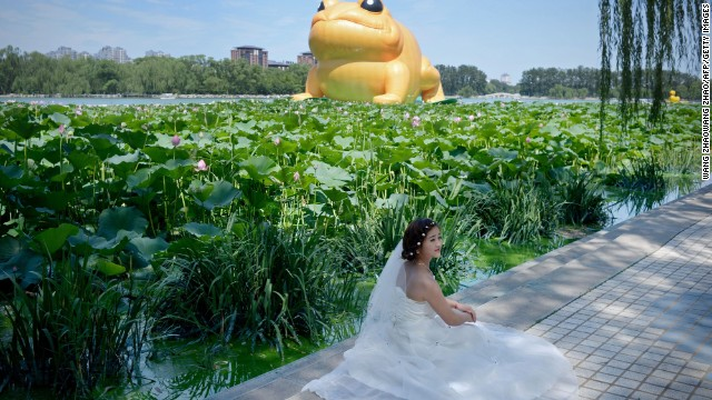 The toad has attracted tourists in part because of the online controversy it has created. Park visitors pose for photos in front of it.