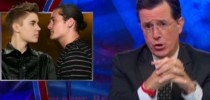 Colbert mocks Bieber, Bloom