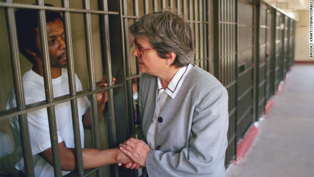 Prejean visits Dobie Gillis Williams on death row at the Louisiana State Penitentiary in 1996. Williams, who had an IQ of 65 and was convicted by an all-white jury, was executed in 1999. Prejean says he was innocent.