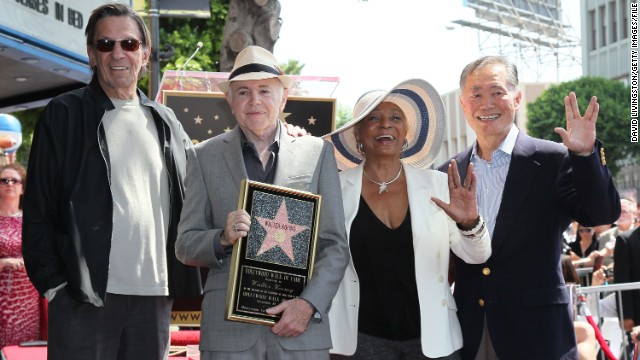 "Actors Leonard Nimoy, Walter Koenig, Nichelle Nichols and George Takei attend Koenig's being honored with a star on the Hollywood Walk of Fame in 2012. ""I take whatever I do very seriously, otherwise I don't do it,"" said Nichols."