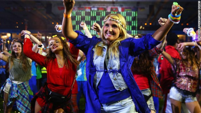 Dancers boogie during the closing ceremony. England held off a late charge by Australia to top the Commonwealth Games medal table.
