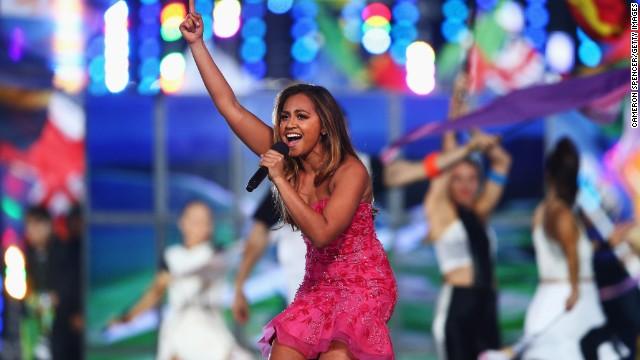 Australian singer Jessica Mauboy gets into her performance.