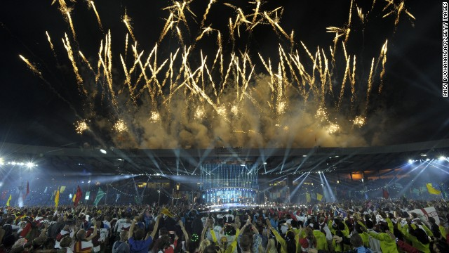 Fireworks light up the sky during the closing ceremony at Hampden Park in Glasgow.