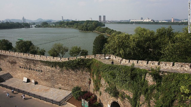 Visitors to the wall get a great view of Xuanwu Lake, a refuge in the heart of Nanjing.