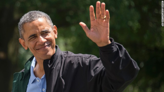 President Barack Obama waves as he returns to the White House where he kicked off his 52nd birthday weekend.