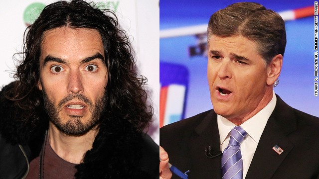 Actor Russell Brand (L) has labeled Fox News' Sean Hannity (R) a