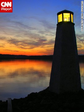 "<a href='http://ireport.cnn.com/docs/DOC-798469'>Ryan Duckwitz</a>'s beautiful sunset photo of the Lake Anna, Virginia, lighthouse from 2010 was a matter of the right place and right time: ""I saw the great lighting and the sun going down so I told my parents to stop to see if I could grab a few quick photos,"" said the 27-year-old. ""I knew that there was a lighthouse where I told my parents to stop, so it turned out to be perfect timing."""