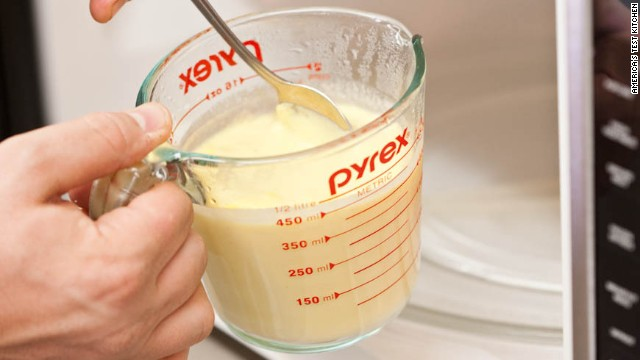 12. If necessary, reheat hollandaise in microwave on 50 percent power, stirring every 10 seconds, until heated through.