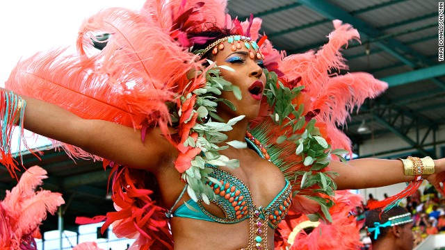 Every year, during the Barbados Crop Over festival, Kadooment Day bands choose a theme and express it through costume colors, feathers and other creative elements.