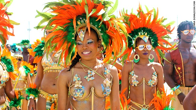 More than 30,000 masqueraders hit the streets of St. Michael on Kadooment Day, also known as Mega Monday -- the colorful culmination of the Crop Over festivities.