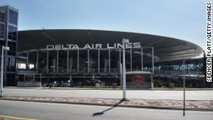 Delta rescued its gigantic sign from the wrecking ball at JFK\'s stylish Worldport terminal. It\'s \