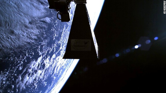 Experts predict advanced satellites will revolutionize crime fighting. British firm SA Catapult supplied technology to British police investigating a murder case. Pictured, its TechDemoSat-1 satellite celebrates a successful LEOP (Launch and Early Orbit) phase with a selfie.
