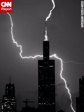 Shooting on a friend's balcony, <a href='www.instagram.com/dsowaphoto' target='_blank'>David Sowa</a> used a 15-second exposure on his Nikon and an Instagram filter to capture this image of lightning striking the Willis Tower in Chicago in July.