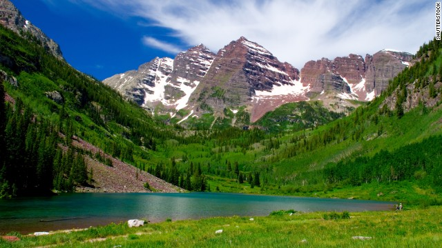 Maroon Bells-Snowmass Wilderness in Colorado has six peaks that surpass 14,000 feet in elevation, including the Maroon Bells, pictured.
