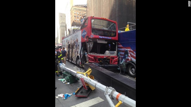 Two tour buses collided in Times Square Tuesday afternoon.