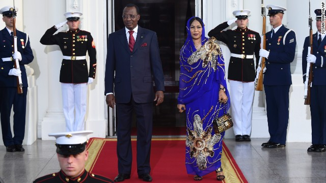 Chad President Idriss Deby Itno and first lady Hinda Deby Itno arrive.