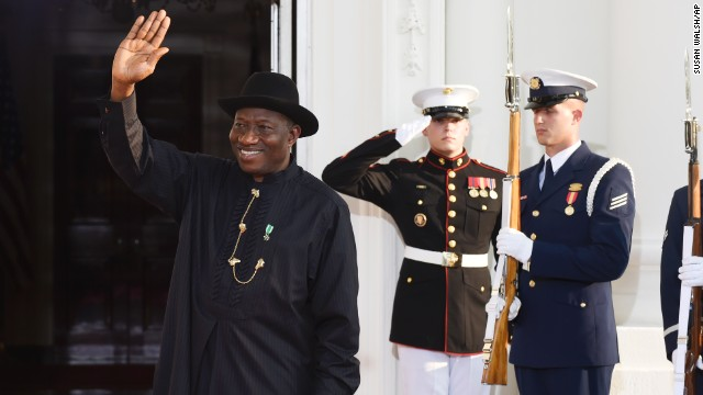 Nigeria's President Goodluck Jonathan arrives for the state dinner.