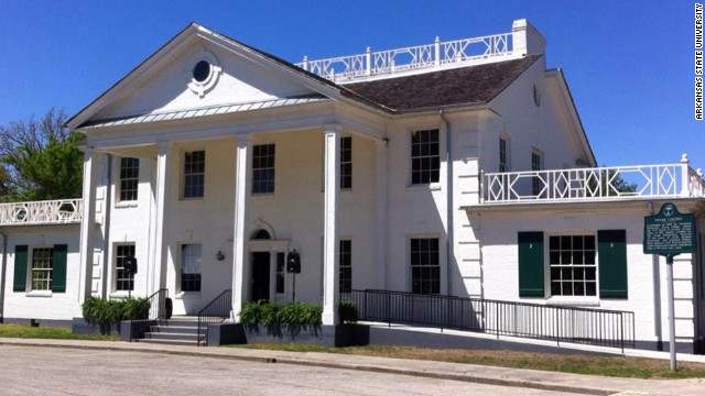 The restored Dyess Colony Administration Building holds information documenting the town's creation and items that once belonged to Cash.