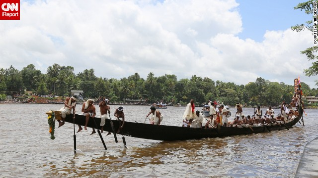 The Aranmula Snake Boat Race is held each year on the <a href='http://ireport.cnn.com/docs/DOC-1151709'>Pamba (or Pampa) River</a> in India. The rowers wear traditional white clothing, and there's singing as the boats make their way along the river.