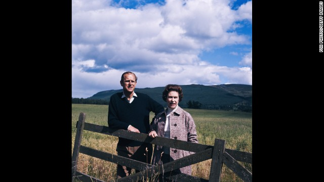 Queen Elizabeth II and Prince Philip at Balmoral, Scotland, in 1972.