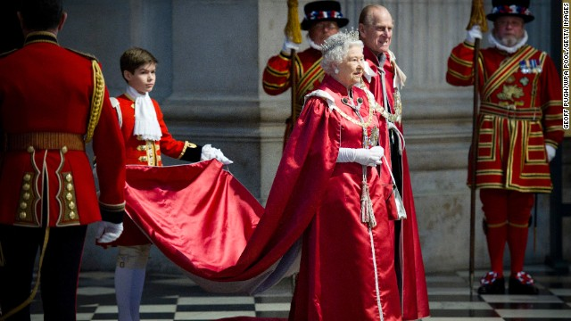 Queen Elizabeth II and Prince Philip attend a service for the Order of the British Empire on March 7, 2012.