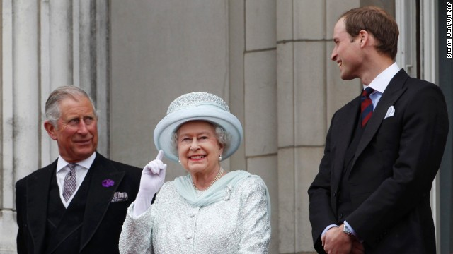 From left, Prince Charles, Queen Elizabeth II and Prince William stand on the balcony at Buckingham Palace during Diamond Jubilee celebrations in London on June 5, 2012. William is the son of Charles and the late Princess Diana.