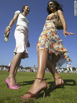 "Treading the turf at a polo match is something everyone is expected to do, says Celestria Noel, a expert on the rituals and manners expected at Britain's swanky social events. ""It would be a faux pas to say: 'oh, why should I do something so menial,'"" she says. ""Women should wear wear wedges or flat shoes -- it's a faux pas to wear high heels."" Clearly no one told the women in this image who were attending the Veuve Clicquot Gold Cup at Cowdray Park in West Sussex."