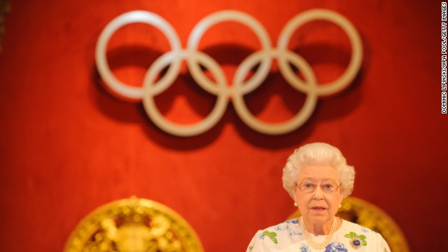 The Queen speaks at a reception for members of the International Olympic Committee on July 23, 2012.