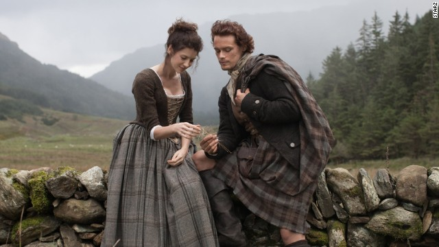 "The much-anticipated series ""Outlander"" is airing now on Starz. Based on Diana Gabaldon's best-selling books, the story follows WWII combat nurse Claire Randall (Caitriona Balfe), who travels back in time to 1743 and encounters Scottish warrior Jamie Fraser (Sam Heughan)."