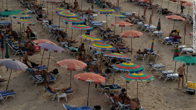 A typical scene at Phuket's famed Patong beach pre-coup, this image from December, 2009.