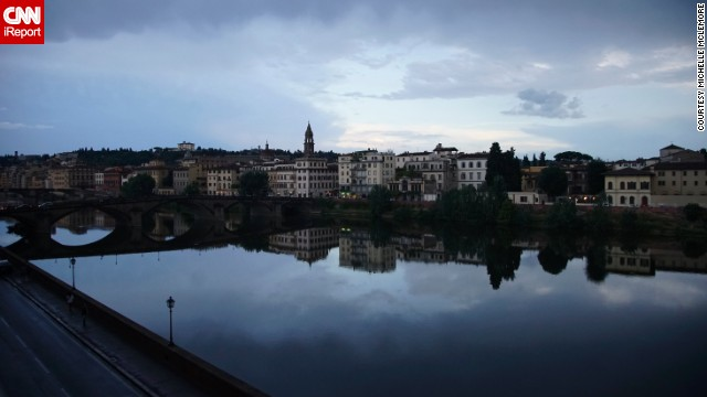 Michelle McLemore fell in love with how serene the <a href='http://ireport.cnn.com/docs/DOC-1149877'>Arno River</a> looked from her Florence, Italy, hotel balcony. But the river hasn't always been so calm and peaceful. Its floodwaters devastated Florence in 1966, damaging priceless works of art, books and monuments throughout the city -- not to mention killing 39 people and leaving thousands homeless.