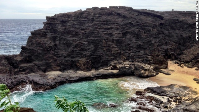 "A short hike down an unpaved path leads to Halona Beach Cove. The beach on Oahu's southern shore had a role in the 1953 movie ""From Here to Eternity."""