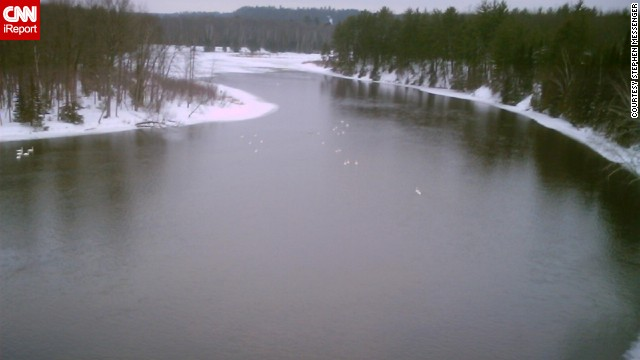 On a cold day in March 2006, <a href='http://ireport.cnn.com/docs/DOC-1150901'>Stephen Messenger</a> photographed the Au Sable River from a highway bridge in Oscoda, Michigan. The river runs 138 miles and empties out into Lake Huron. You can see this sprawling river from the many lookout platforms built by the U.S. Forest Service throughout Michigan. <!-- --> </br><!-- --> </br><strong>Desktop viewers: Click the double arrow to see more photos.</strong>