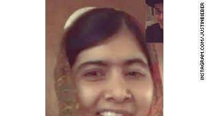 Justin Bieber posts sceenshot on Instagram of his FaceTime with Malala Yousafzai.