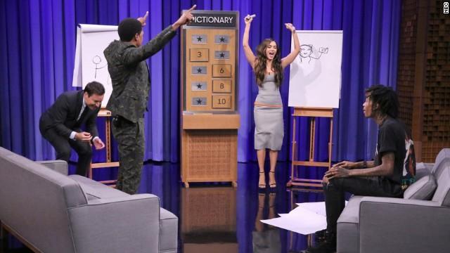 Fallon gets Nina Dobrev to play beer pong, Megan Fox Pictionary