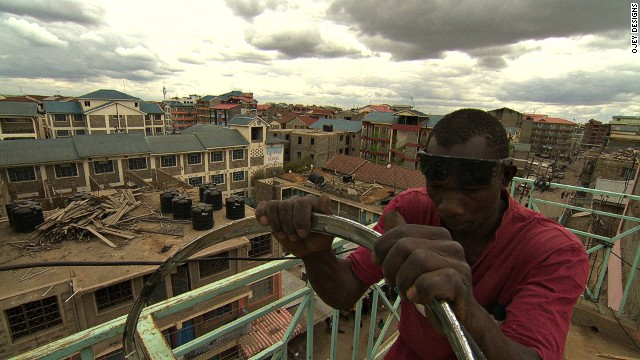 Founder Martin Ojwang has set up his workshop where he lives: on the 5th-floor balcony of an apartment block.