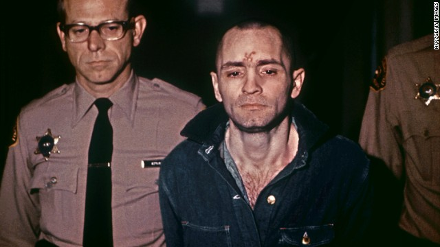 Manson is led, head shaved and beardless, to hear his sentence on March 29, 1971. He received the death penalty as well.