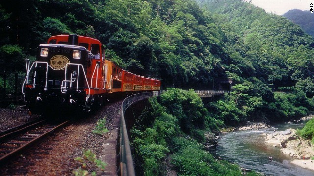 The Sagano Scenic Railway -- -- also known as the Sagano Romantic Train -- runs from Arashiyama to nearby Kameoka and is one of the best ways to enjoy the natural beauty of the area.