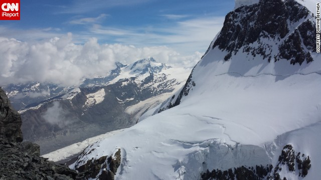 <a href='http://ireport.cnn.com/docs/DOC-1155715'>Dwayne Bethea </a>experienced this amazing view while riding in an aerial cable car to the top of the Klein Matterhorn Peak located in the Alps of Zermatt, Switzerland. The Klein Matterhorn Aerial Tramway is the highest cable car system in Europe.