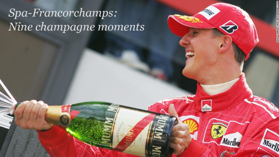 It's the moment every Formula One driver dreams of -- to stand victorious atop the podium with a bottle of bubbly in hand, ready to splash competitors and fans in celebration.<!-- --> </br><!-- --> </br>The Belgian Grand Prix, which takes place at the Spa-Francorchamps circuit later this month, represents the closest the 2014 Formula One season will get to the Champagne region of France where the sparkling drink is produced.<!-- --> </br><!-- --> </br>So what better excuse to take a look back at some of the legendary track's most iconic champagne moments?<!-- --> </br><!-- --> </br>From Schumacher to Senna, from McLaren to Mercedes, there's a fizzing bottle full of marvelous Spa memories to choose from ...