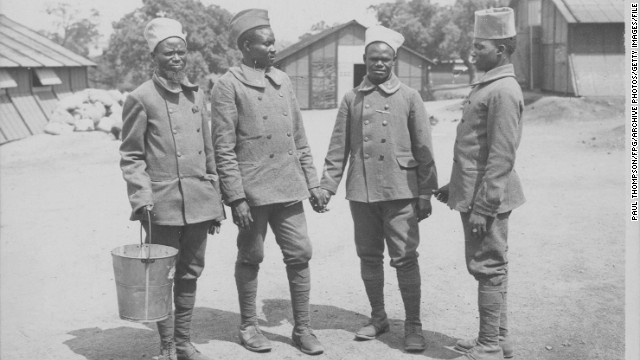 Senegalese soldiers at a Sudanese camp during World War One, circa 1914-1918.