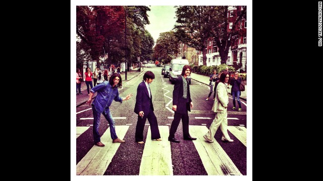 "LONDON: The cast of the West End Beatles musical show ""Let it Be"" recreate the cover photograph of the Beatles album ""Abbey Road"" on the zebra crossing on Abbey Road in London. Today marks the 45th anniversary of when the album cover photograph was taken. Photo by CNN's Woj Treszczynski, August 8. Follow Woj (<a href='http://instagram.com/voxpen' target='_blank'>@voxpen</a>) and other CNNers along on Instagram at <a href='http://instagram.com/cnn' target='_blank'>instagram.com/cnn</a>."