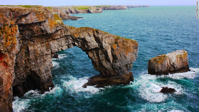 <a href='http://www.pembrokeshirecoast.org.uk/default.asp?pid=120' target='_blank'>The Green Bridge of Wales</a> on the rocky Pembrokeshire coastline is one of the most famous spots in Wales.
